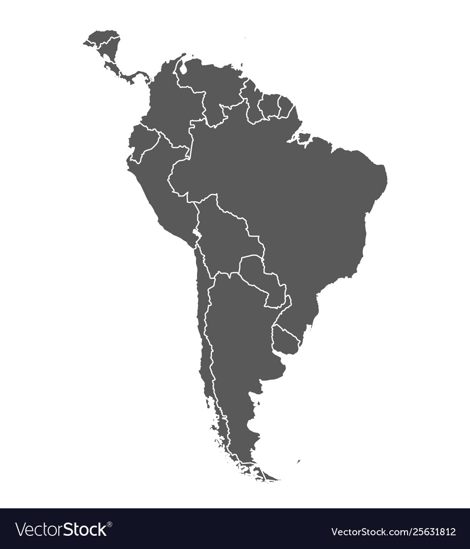 South america grey contour map countries