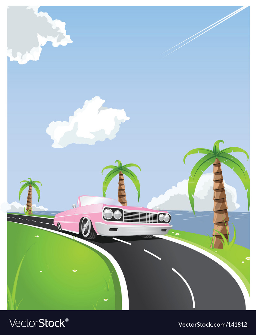 Summer convertible drive vector image