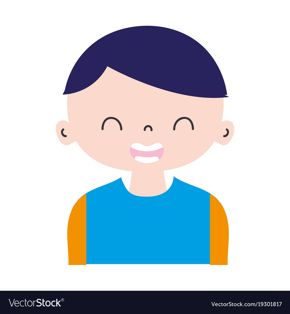 Colorful Smile Boy With T Shirt And Hairstyle Vector Image