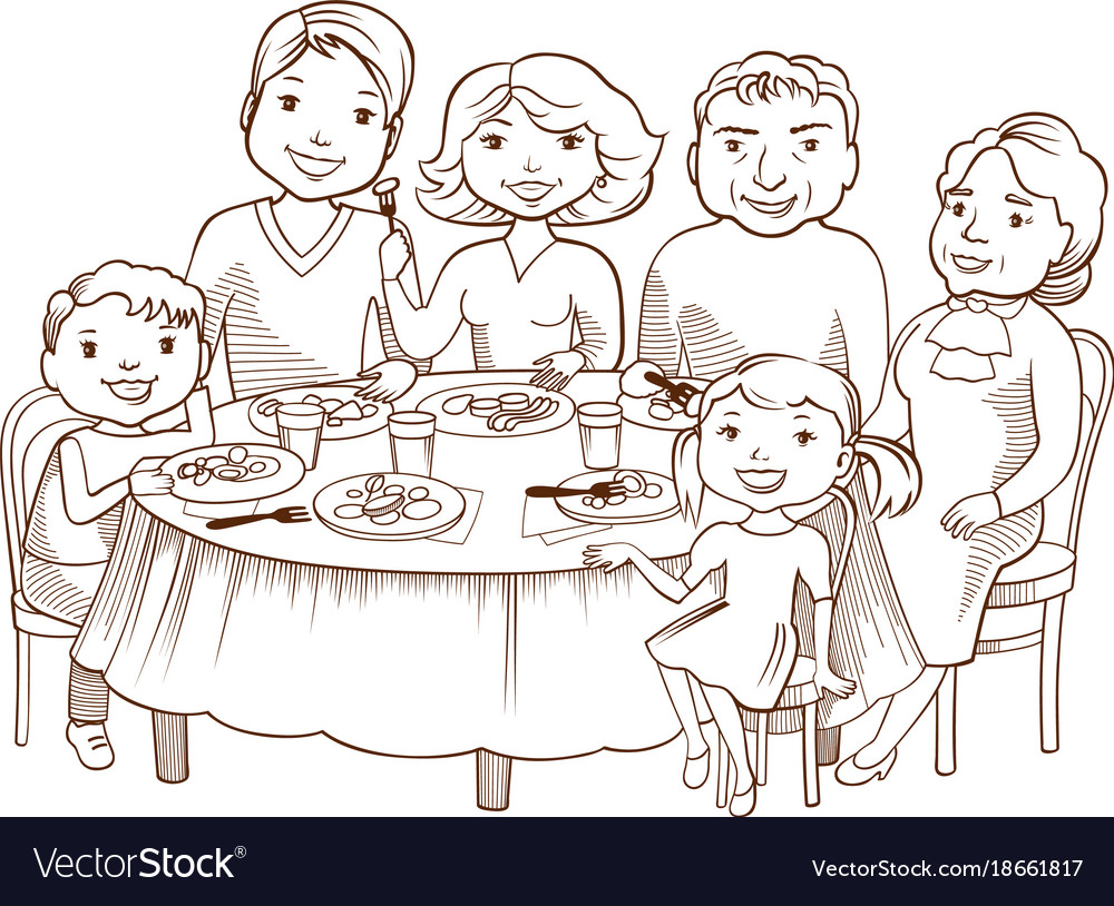 Cute cartoon family dined at the table