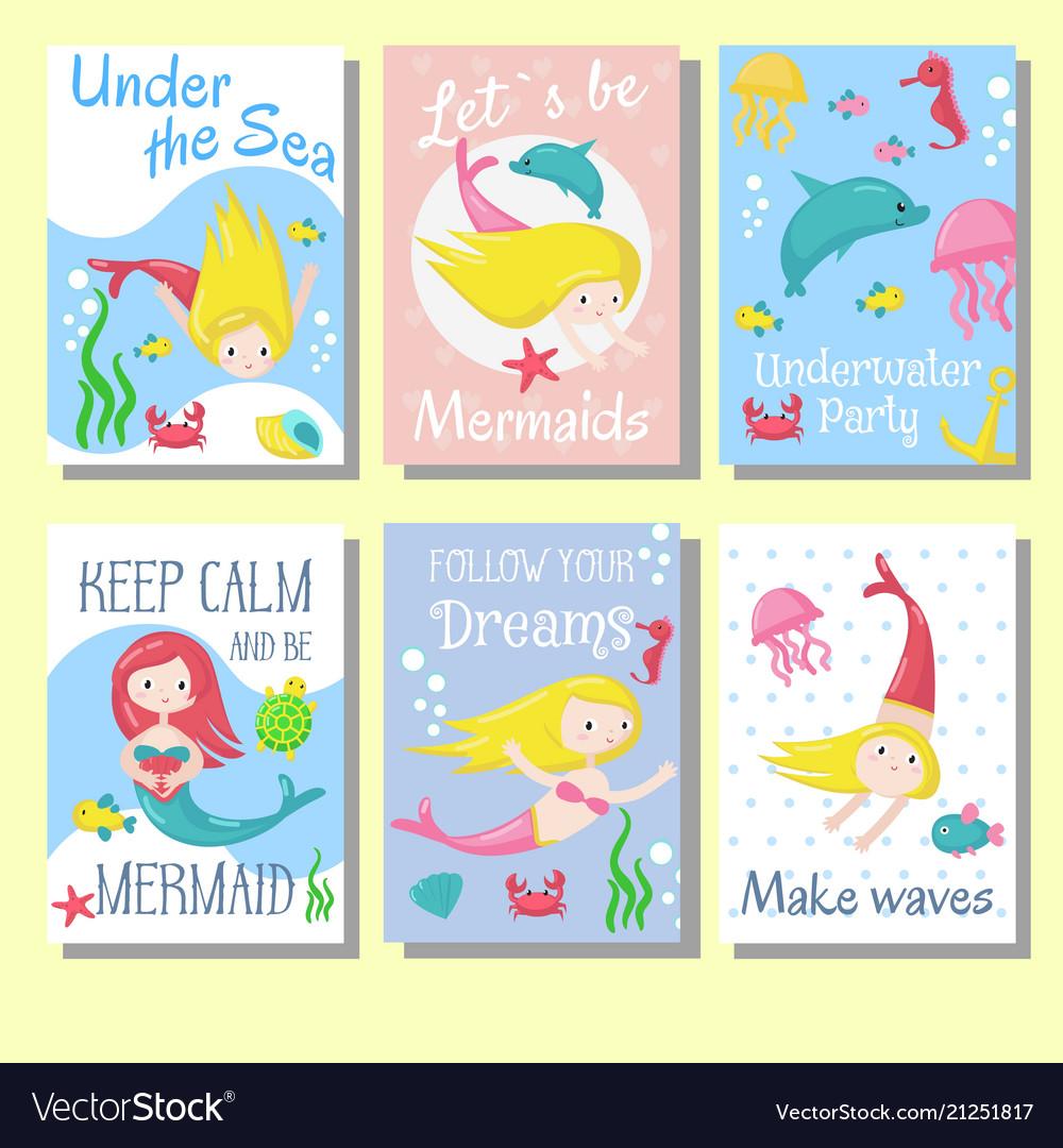 Cute mermaid cards template set