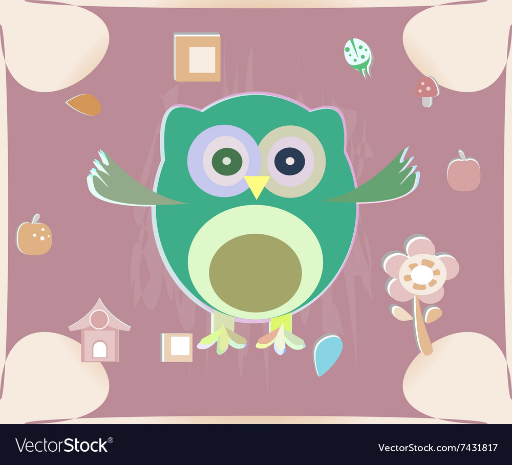 Cute owl card Baby girl arrival announcement card