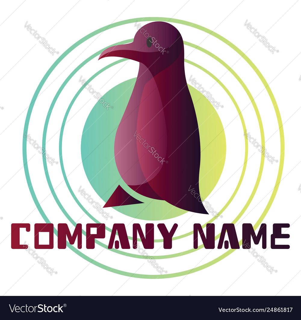 Deep purple bird logo design on white background