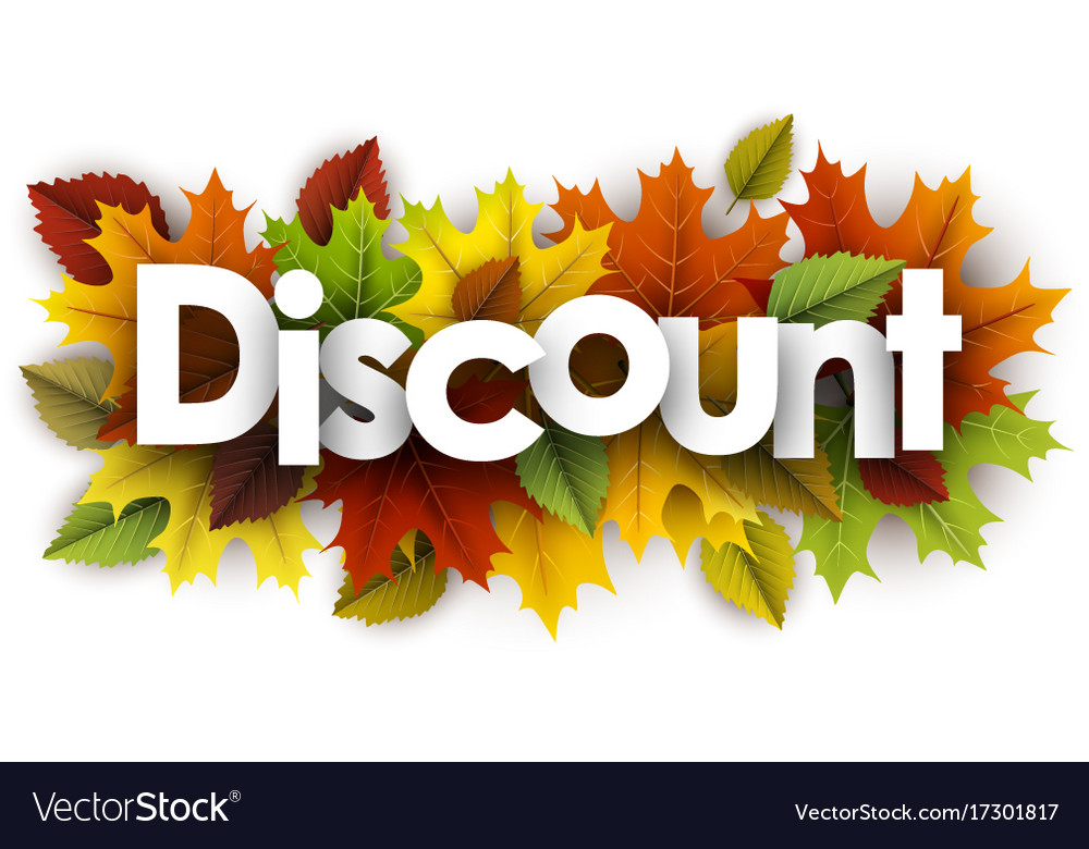 Discount autumn banner with leaves