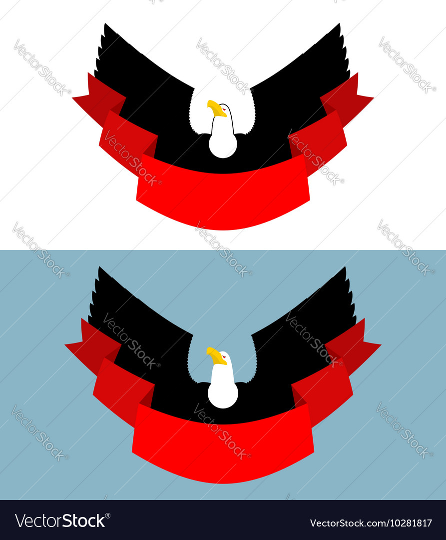 Eagle and red ribbon Bird of prey for symbol