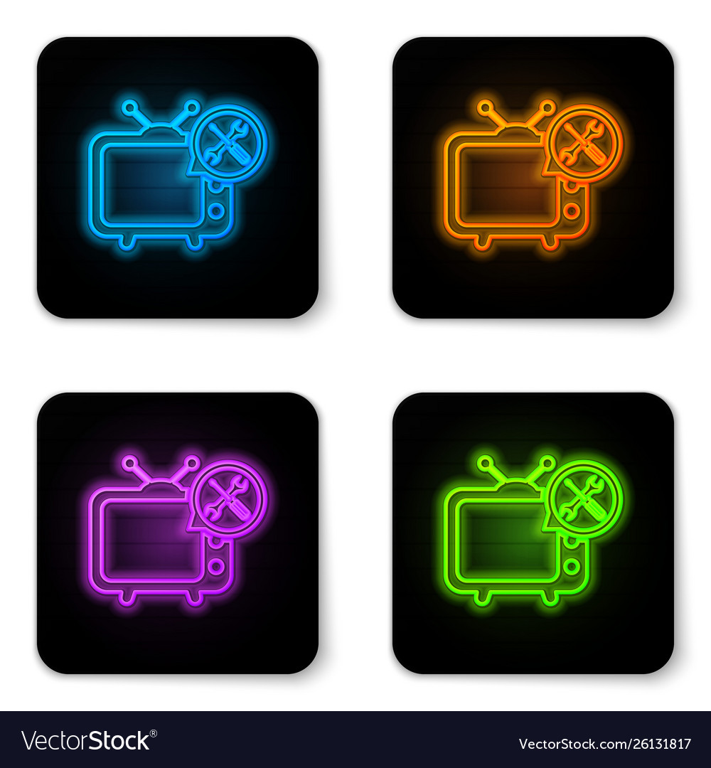 Glowing neon tv with screwdriver and wrench icon