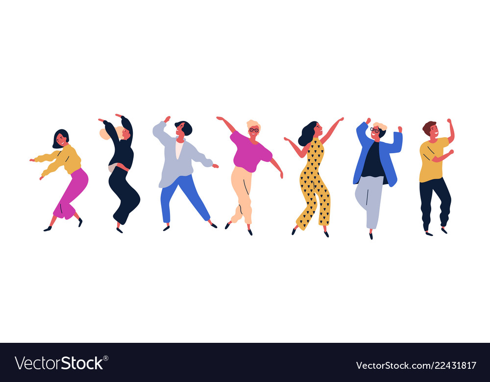 Group of young happy dancing people or male and
