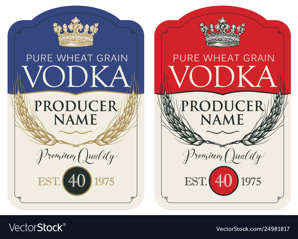 Labels for vodka with ears wheat and crown