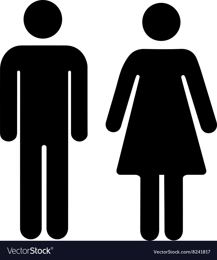 men and women silhouette black simple icons on vector image vectorstock