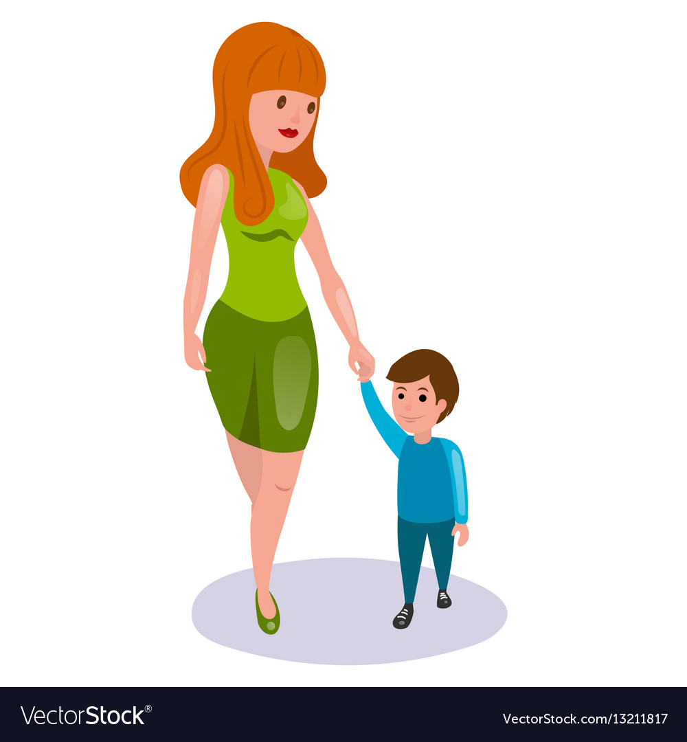 Mother and child cartoon Royalty Free Vector Image
