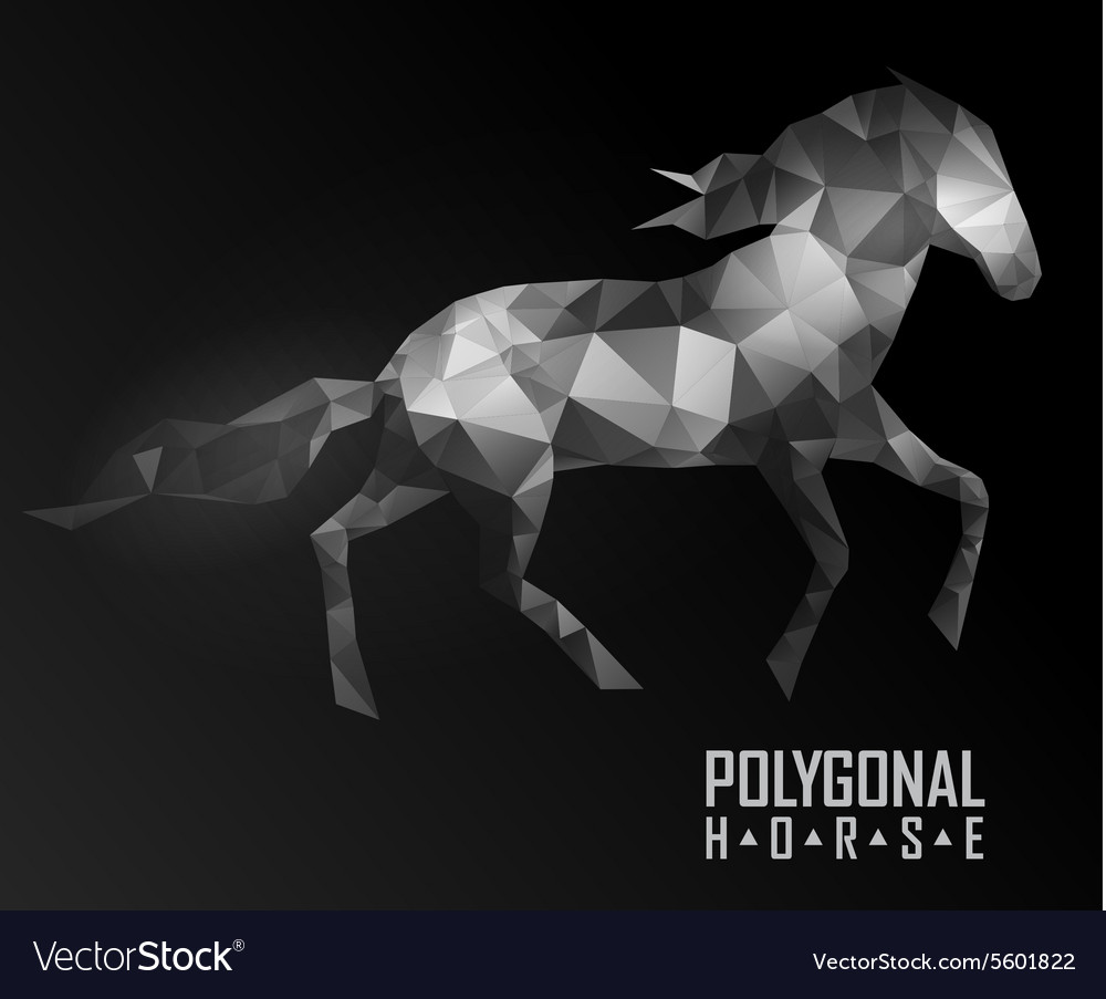 Abstract polygonal horse Geometric hipster