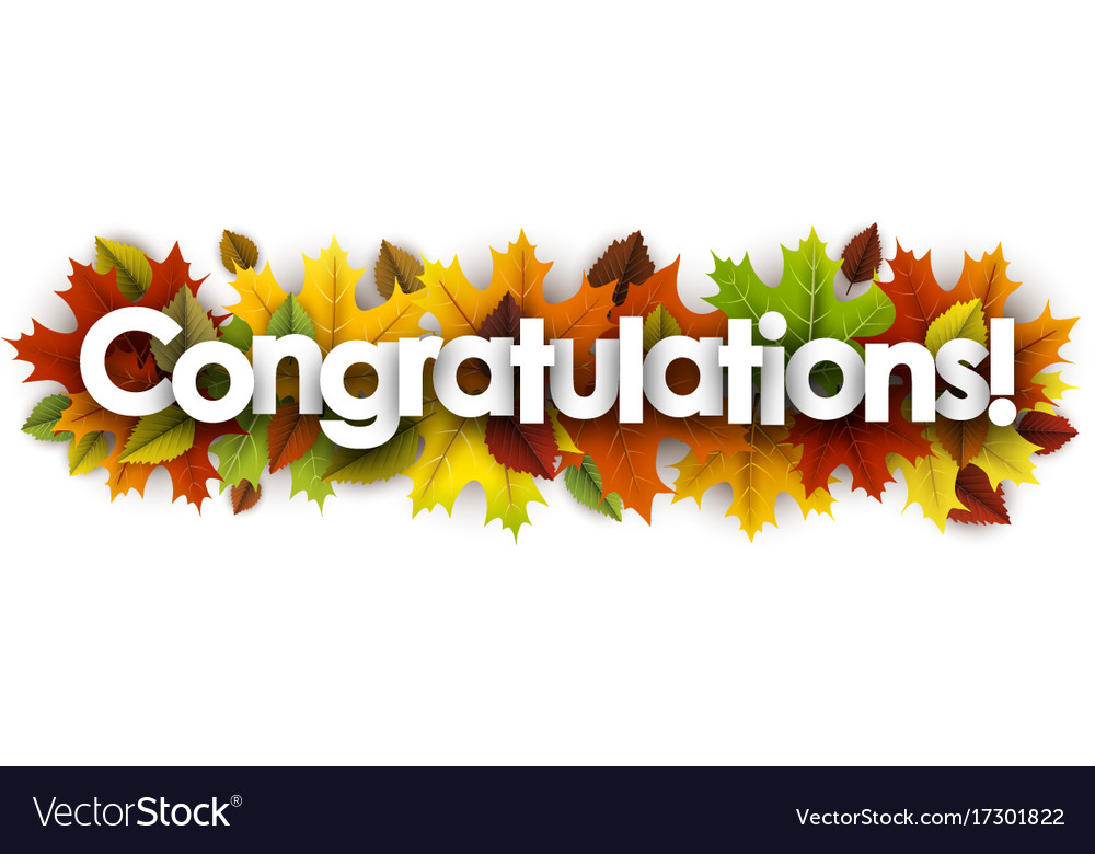 autumn congratulations banner with leaves vector image