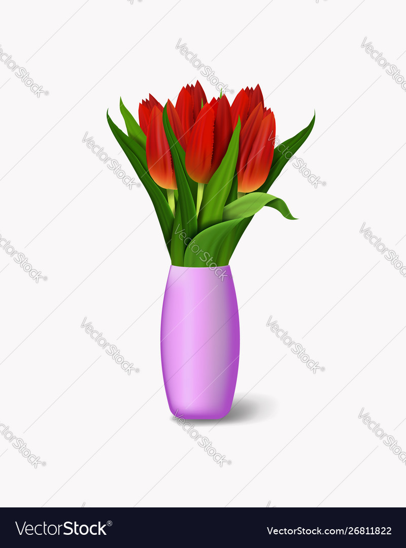 Bouquet Red Flowers In Vase Realistic Tulips