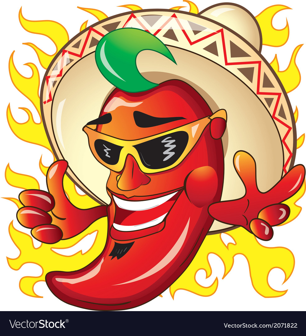 Cartoon red hot peper vector image