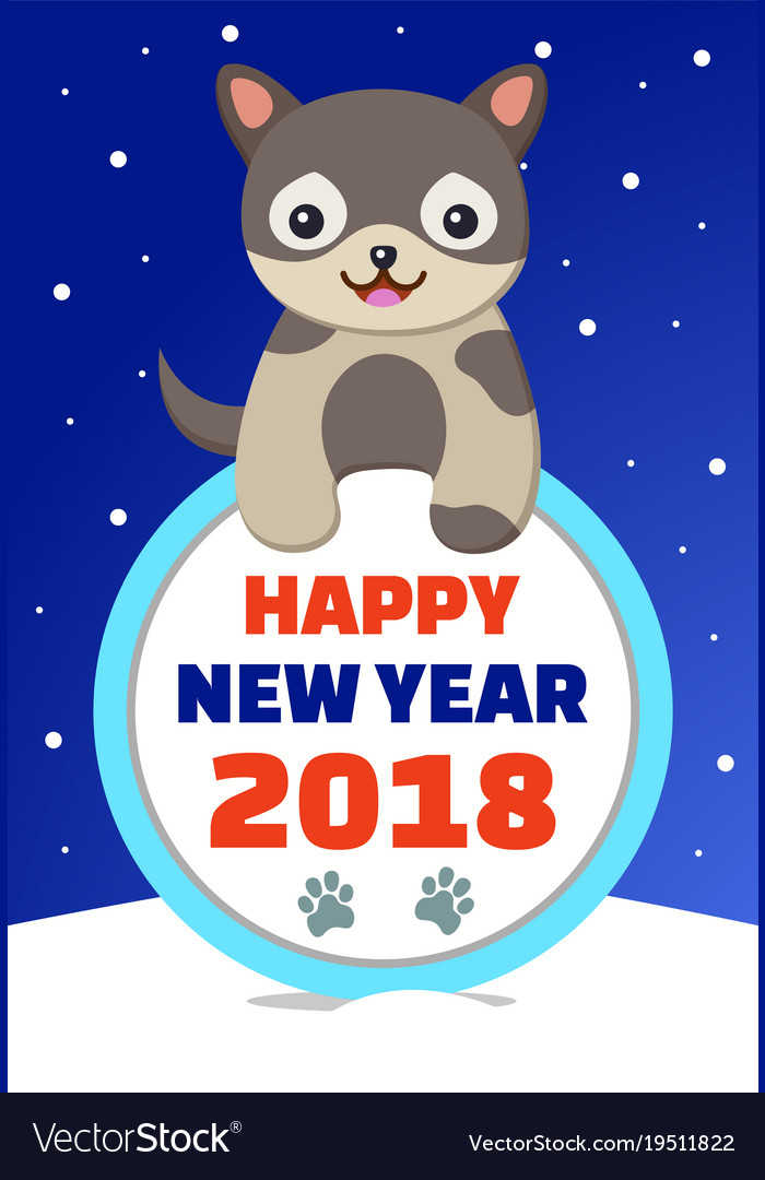 Happy new year 2018 congratulation from dog
