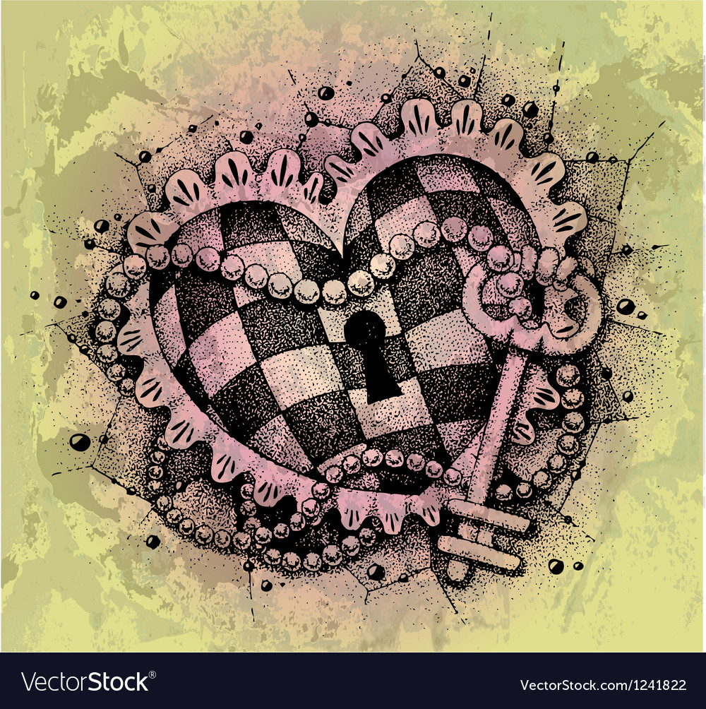 Heart with key drawn by hand vector image