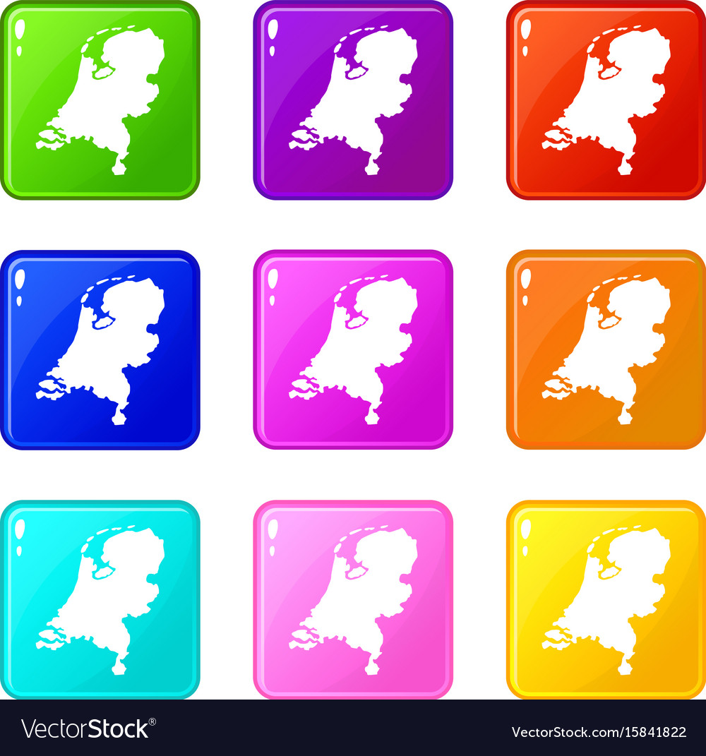 Holland map icons 9 set