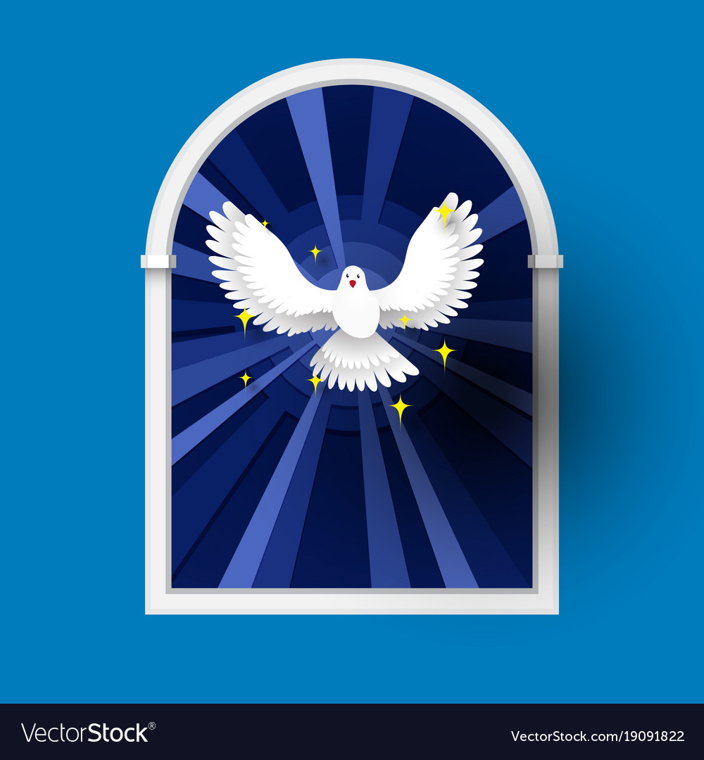 Holy spirit come above the window white dove