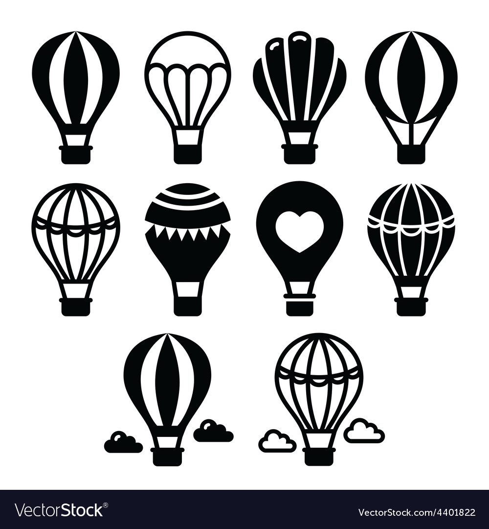 Hot air balloon and clouds icons set