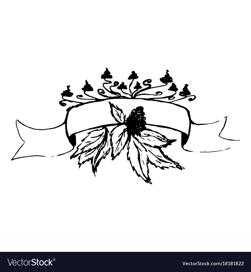 Ribbon with floral decor wedding elements vector image