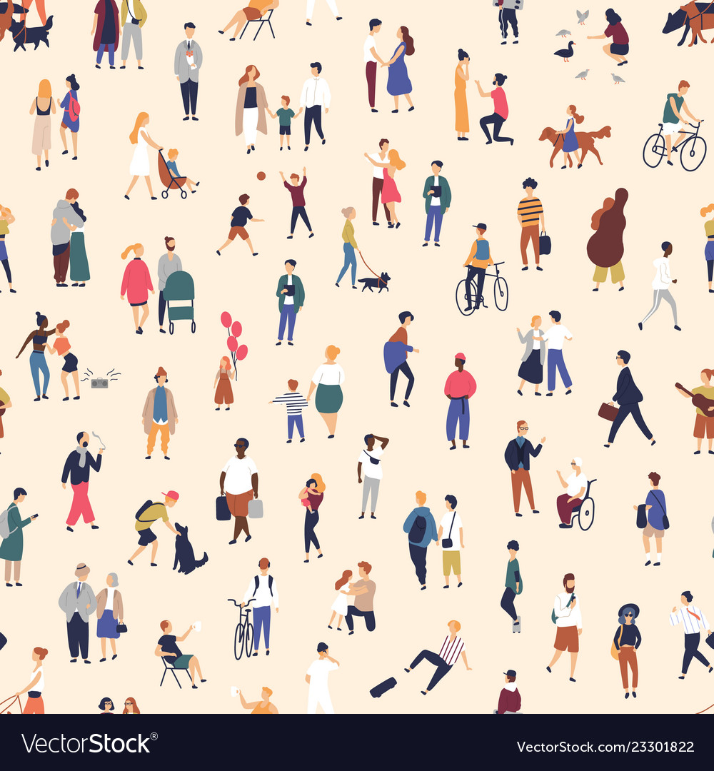 Seamless pattern with tiny people walking on