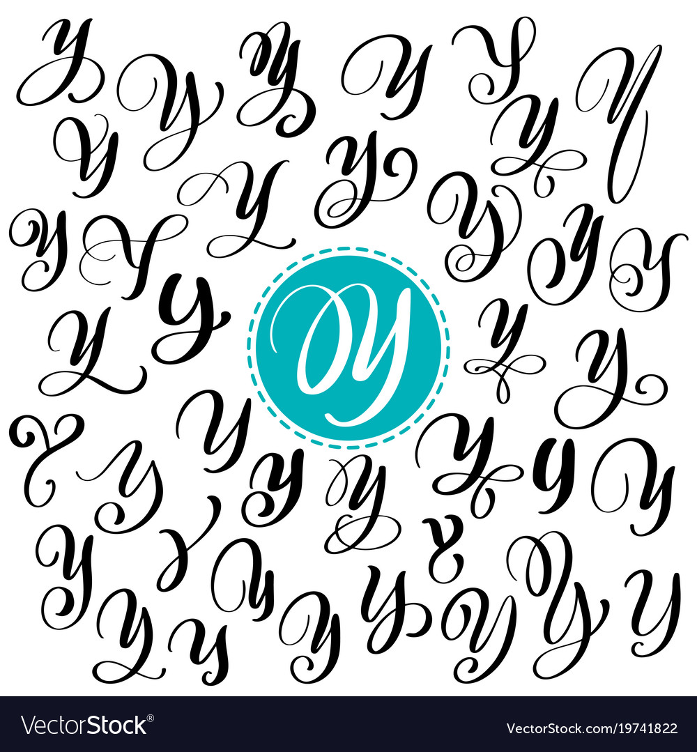 Set Of Hand Drawn Calligraphy Letter Y Vector Image