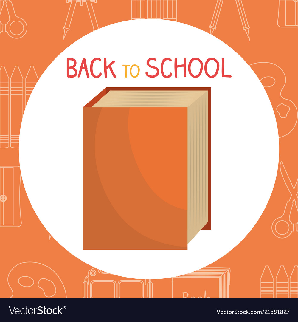 Back to school label with books and supplies vector image on VectorStock