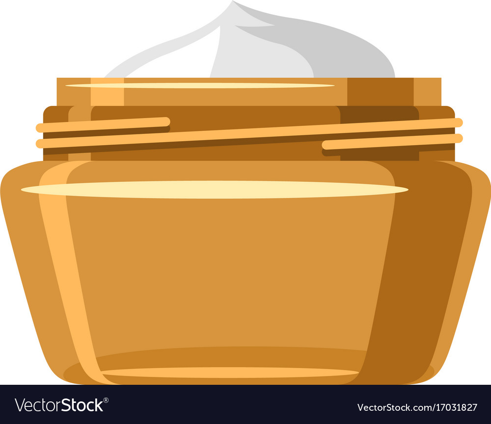 Bank with cream of object on white vector image