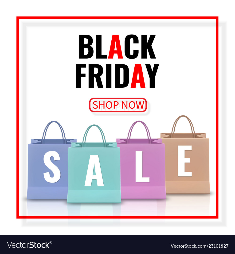 Black friday sale realistic paper shopping bag