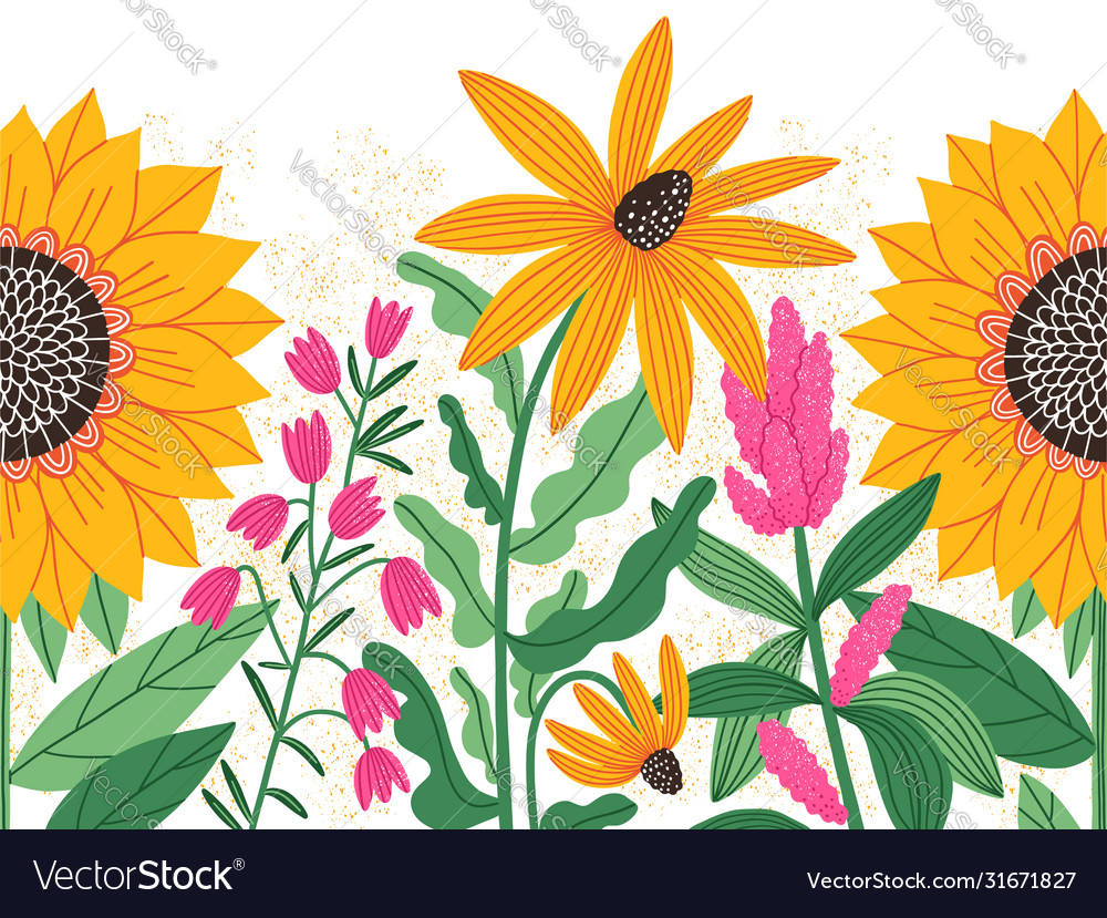 Bright summer flowers seamless decorative