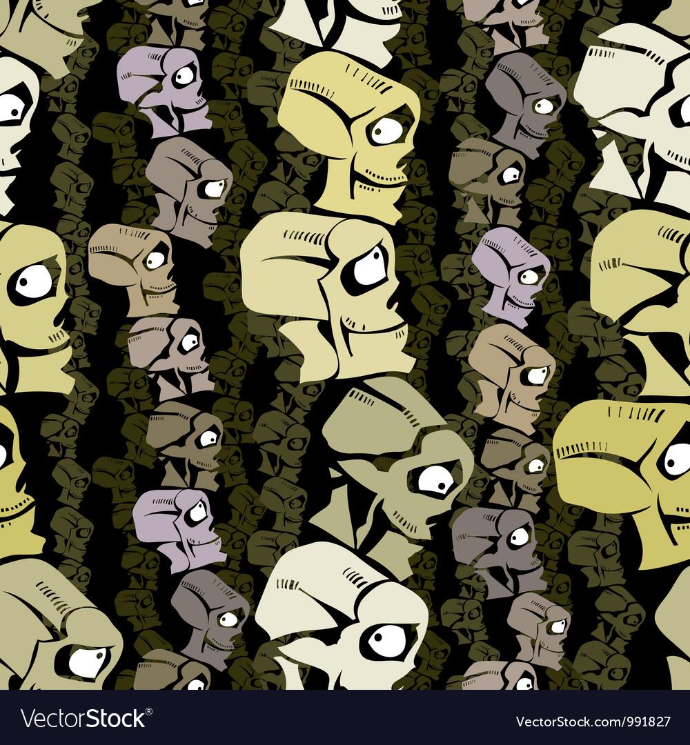 Cartoon skulls seamless background vector image