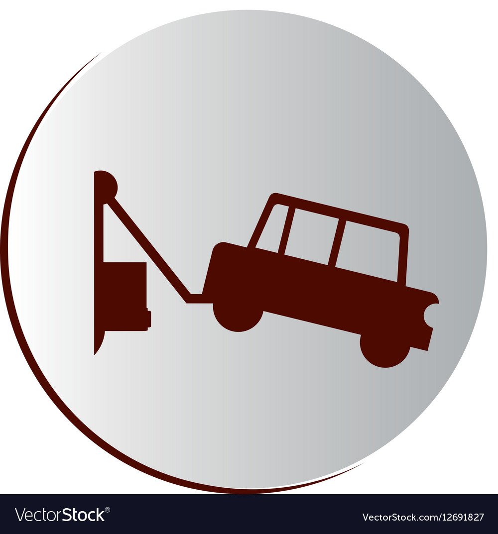 Circular button with tow truck vector image