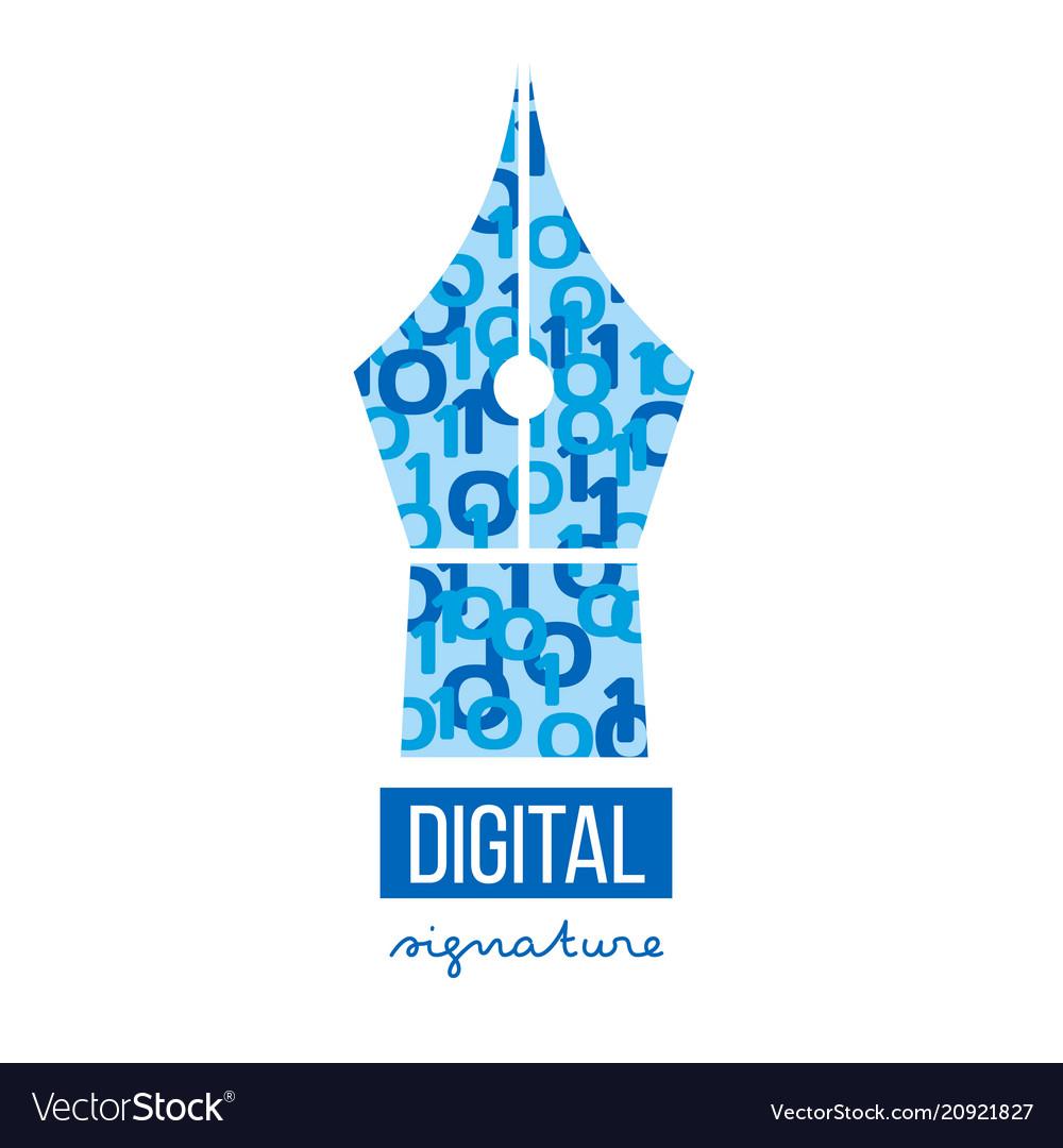 Digital electronic signature logo template