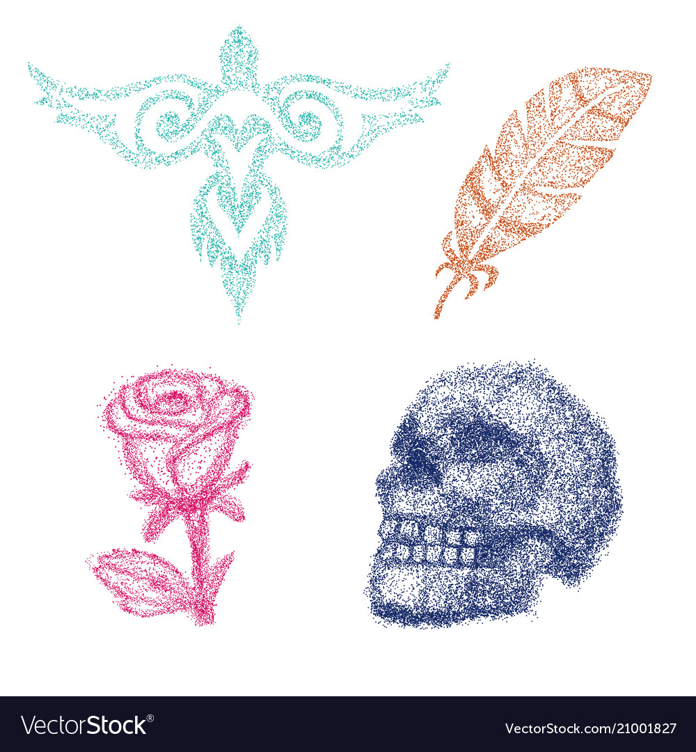 Dot work dotted rose or skull with tone and