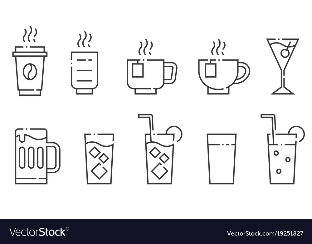Drinks and beverage line icon set