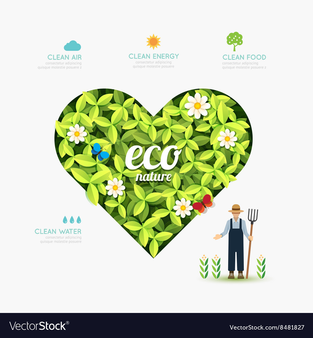 Ecology infographic green heart shape with farmer