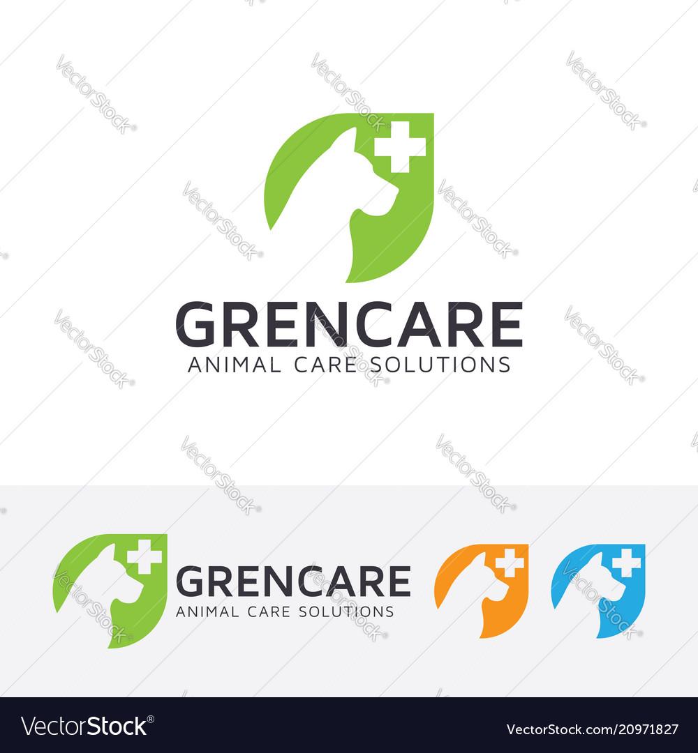 Green animal care logo design