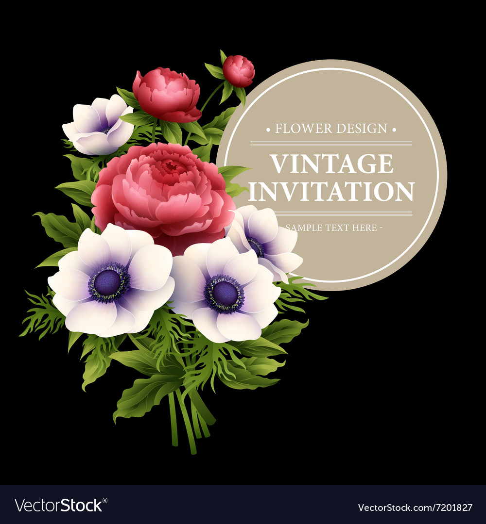 Greeting card with anemone and peony flower
