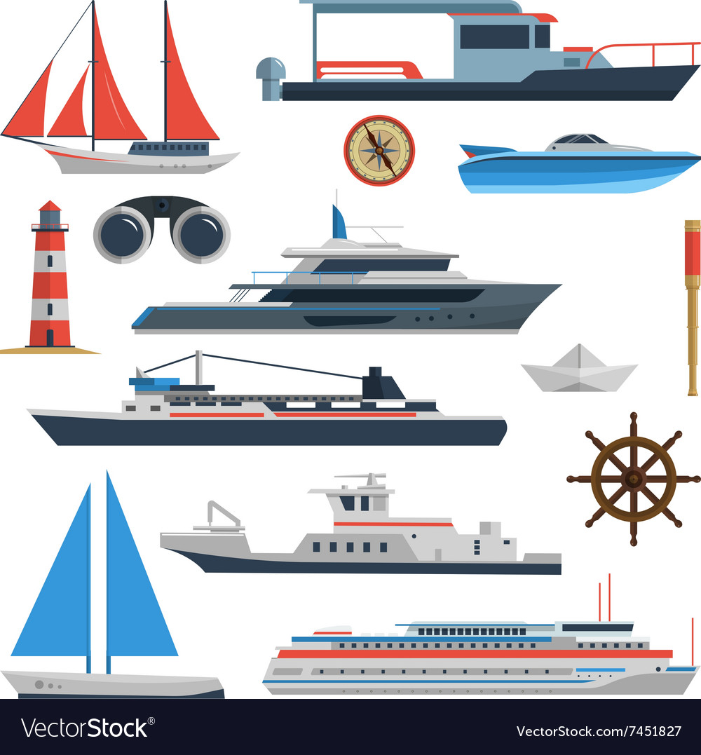 Sea set of ships boats and yacht isolated vector image