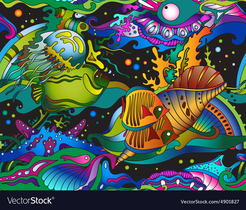 Seamless sea pattern with tropical fishes