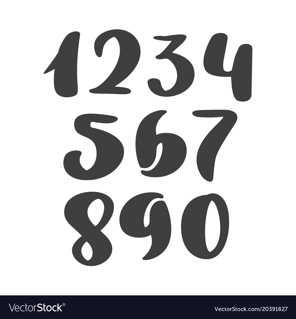 Set of calligraphic ink numbers abc for vector image