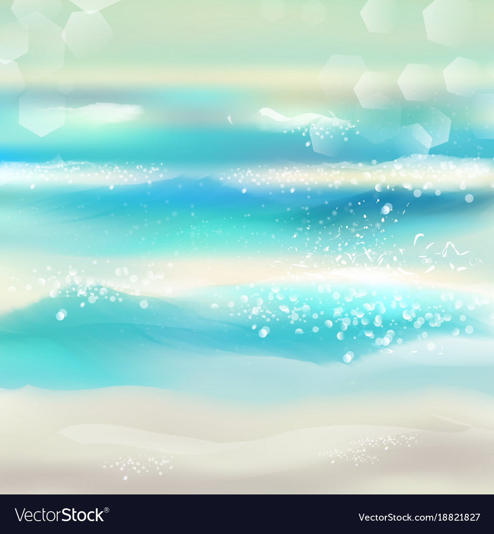 Spring and summer watercolor ocean background Vector Image