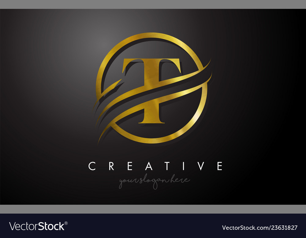 T golden letter logo design with circle swoosh