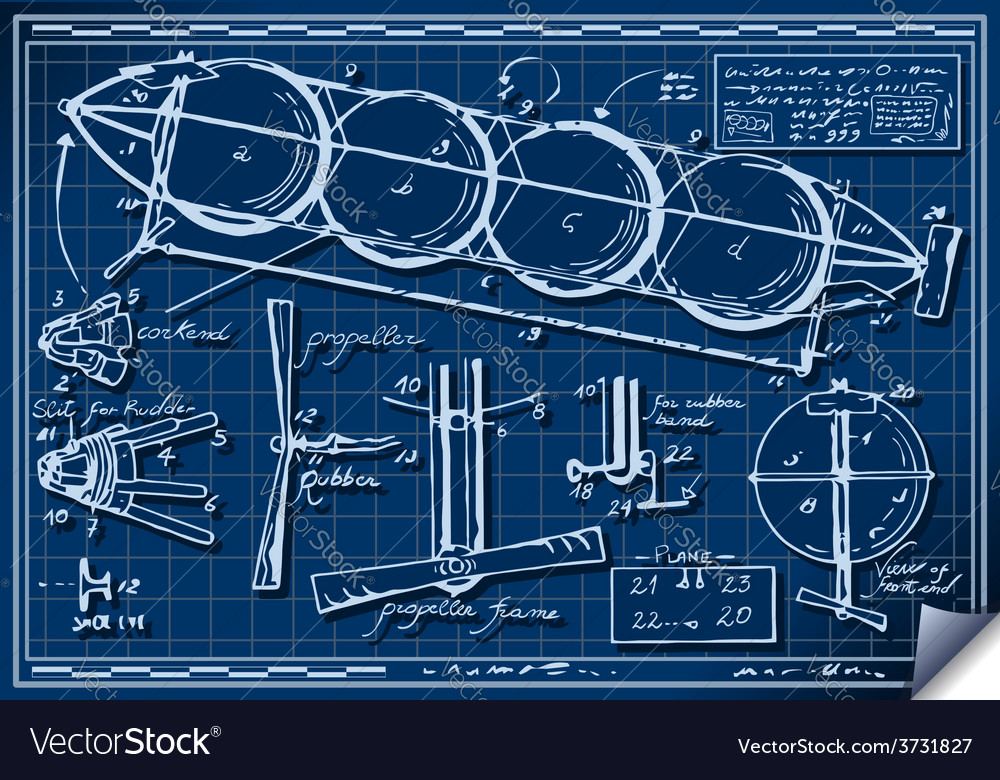 vintage kids plane project on blueprint royalty free vector