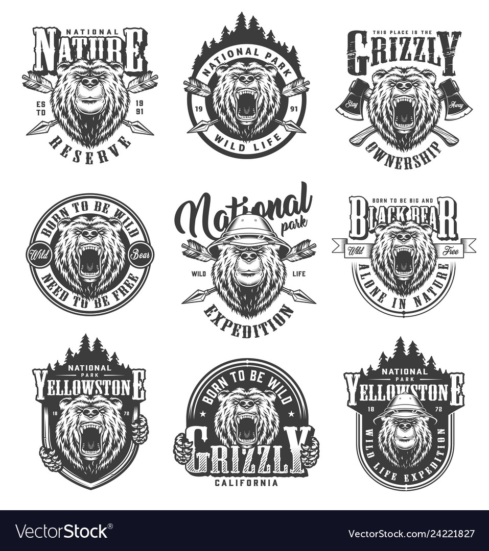 Vintage monochrome national park emblems