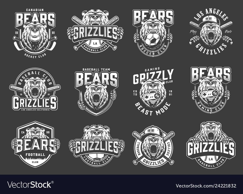 Angry bear sport clubs mascot logos