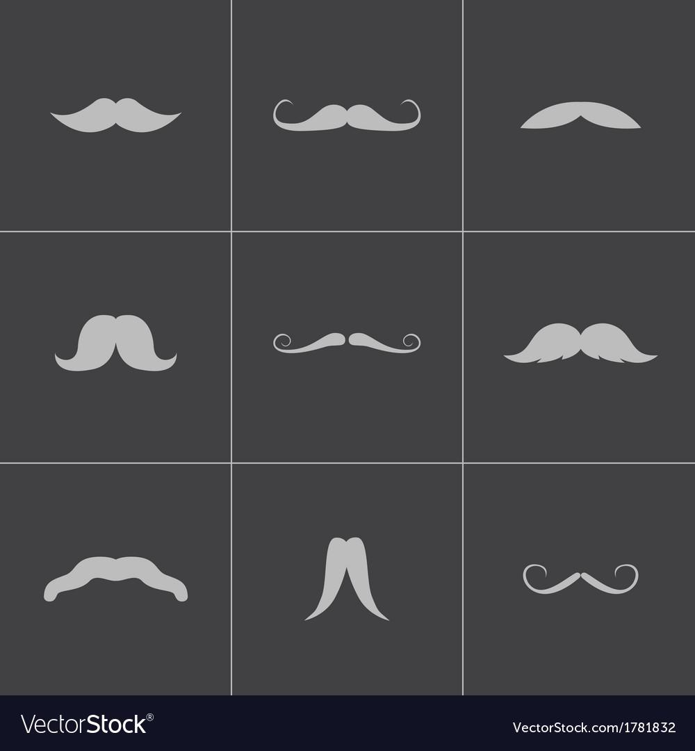 Black mustaches icons set
