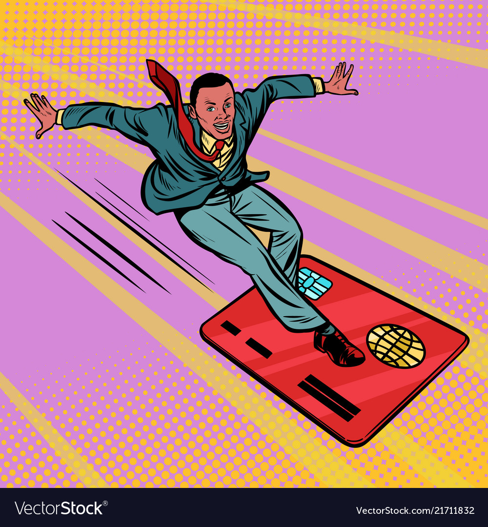 Businessman and bank card extreme sports speed on