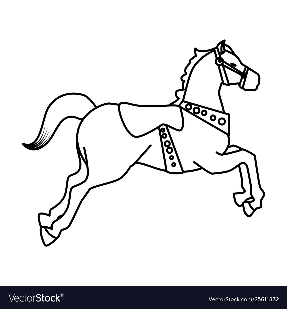 Carousel Horse Carnival Icon Royalty Free Vector Image