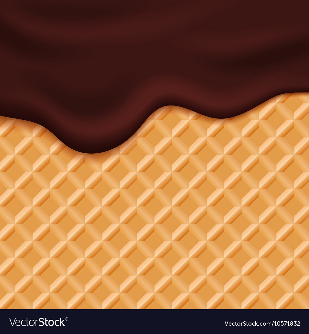 Ice Cream Cones Background Royalty Free Vector Image: Chocolate Ice Cream Glaze On Wafer Background Vector Image